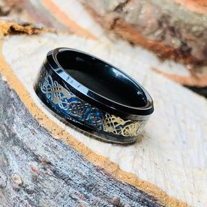 Black Tungsten Carbide Celtic Dragon Wedding Band